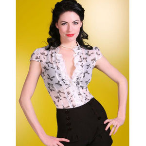 BETTIE PAGE Bow Print Sheer Ruffle Button Down Top